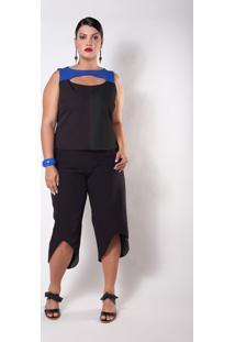 Blusa Kapsuli Plus Size Social Bicolor Preta/Azul