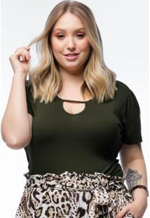 Blusa Plus Size Verde Básica