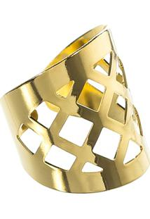 Anel Dourado Xadrez - Feminino-Dourado