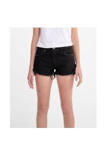 Short Jeans Cintura Alta Com Barra Desfiada | Blue Steel | Preto | 34