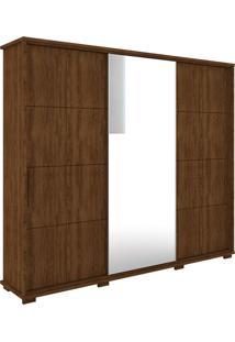 Guarda Roupa Casal 3 Portas Com Espelho New Fortuno - Robel - Jacaranda / Madeirado