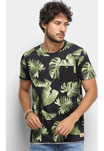 Camiseta Colcci Tropical Bolso Masculina - Masculino-Preto+Verde