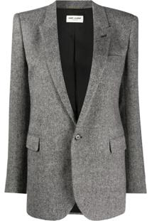 Saint Laurent Herringbone Fitted Blazer - Preto