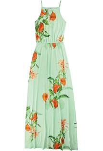 Vestido Verde Longo Floral Em Viscose