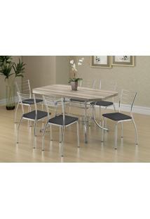 Mesa 1507 Nogueira Cromada Com 6 Cadeiras 1700 Preta Carraro