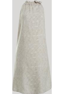 Vestido Feminino Curto Halter Neck Estampado Geométrico Com Amarração Bege
