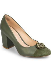 Sapato Tradicional Em Couro Com Tag - Verde Escurocapodarte
