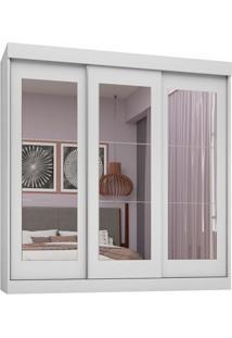 Guarda-Roupa Casal Com 3 Espelhos Fortaleza 3 Pt 2 Gv Branco