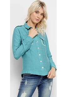 Camisa Manga Longa Acetinada Unk Brand Feminina - Feminino-Verde
