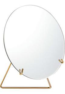 Espelho Com Suporte- Espelhado & Dourado- 22Xã˜20X10,Mart