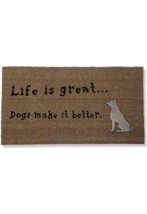 Capacho Life With Dog Marrom/Preto 45X75Cm