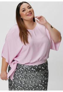 Blusa Plus Size Rosa Com Amarração Na Barra