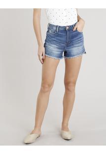 ab9fe4245 CEA. Short Azul Tom Escuro Feminino Clock Algodão Jeans Curto Vintage ...