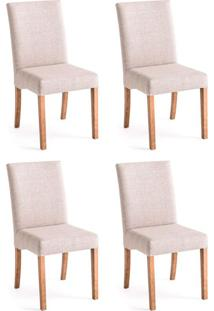 Conjunto Com 4 Cadeiras De Jantar Laisa Mescla E Castanho