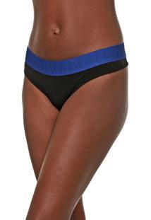 Calcinha Calvin Klein Underwear Fio Dental Lettering Preta/Azul