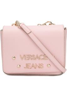 Versace Jeans Bolsa Transversal Com Logo - Rosa