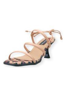 Sandalia Salto Taça Love Shoes 3 Tiras Amarraçáo Onça Nude