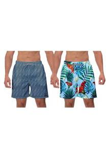Kit 2 Shorts Moda Praia Primavera Samambaia Azul Masculino Caminhada Esporte Surf Vôlei Banho W2