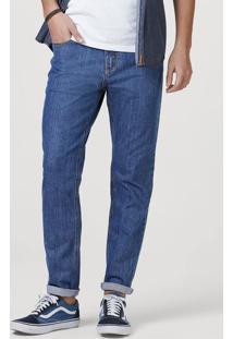 Calça Jeans Masculina Slim Com Lavanderia Vintage