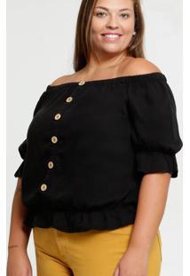 Blusa Feminina Ombro A Ombro Babado Plus Size