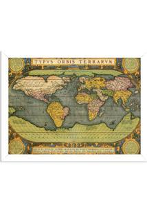 Quadro Decorativo Mapa Mundi Antigo Branco - Grande