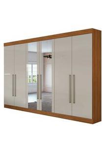 Guarda Roupa Casal C/ Espelho 6 Portas 4 Gavetas Castellaro Rovere Naturale/Off White Lopas