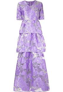 Baruni Vestido Longo Floral - Roxo