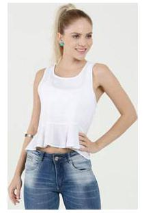 Blusa Feminina Cropped Peplum Sem Mangas Marisa