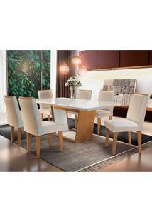 Conjunto De Mesa De Jantar Sofia Com 6 Cadeiras Estofadas Lunara I Veludo Off White E Creme