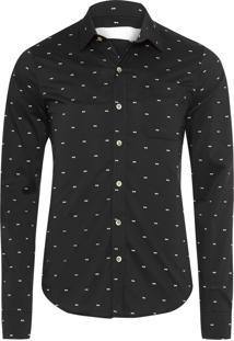 Camisa Masculina Print Óculos - Preto
