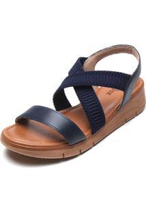 Sandália Usaflex Transpasse Azul-Marinho