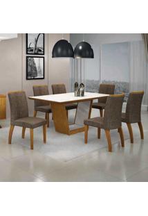 Conjunto De Mesa Com 6 Cadeiras Alemanha Ii Imbuia Mel E Marrom