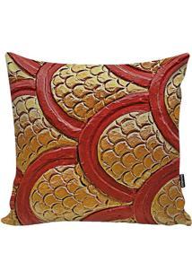 Capa De Almofada Dragon Skin- Marrom Claro & Vermelha