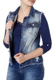 437004988 ... Colete Jeans Naraka Feminino - Feminino-Azul