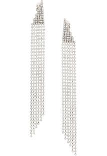 Saint Laurent Crystal Cascade Earrings - Prateado