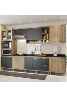 Cozinha Completa 15 Portas 3 Gavetas Sicilia 5835 Premium Argila/Grafite - Multimóveis