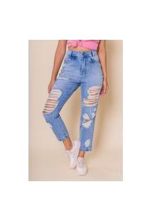 Calça Jeans Cropped Mom Grazi