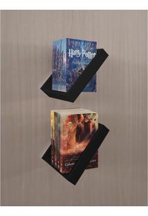 Prateleira Porta Livros Suporte Estante Nicho Decorativo 2 Peças Parede - Preto Laca