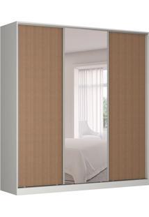 Guarda-Roupa Casal Com Espelho Tunas Iii 3 Pt 3 Gv Branco E Marrom