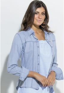 0376a7dc18 ... Camisa Mullet Com Botões Jeans Quintess