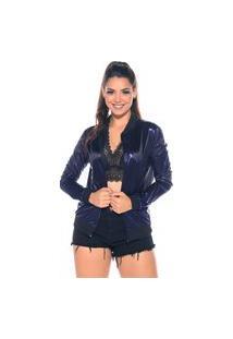 Jaqueta Bomber M&A Modas Metalizada Azul