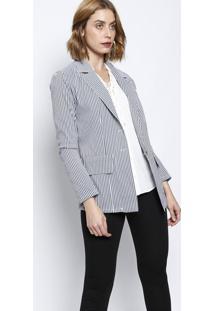 Blazer Listrado Com Botões- Off White & Cinza- Silk Silk Lord