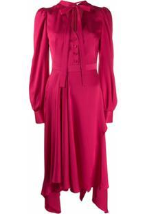 Alexander Mcqueen Vestido Assimétrico Com Amarração - Rosa
