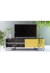 Rack Para Tv Preto Estilo Industrial Moderno Porta De Correr Amarela Pés De Metal Crosby 163X43,6X48,5 Cm