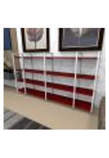 Aparador Industrial Aço Cor Branco 180X30X98Cm (C)X(L)X(A) Cor Mdf Vermelho Modelo Ind57Vrapr
