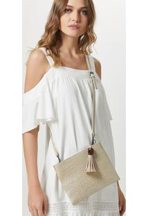 Clutch Palha Foil-Off White - U