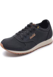 Sapatênis Couro Coca Cola Shoes Recortes Preto