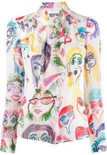 Moschino Blusa Com Estampa Desenhada - Branco