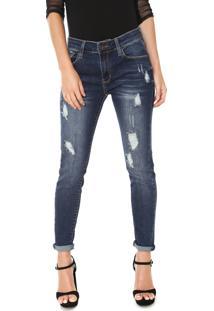 89dab8855 Dafiti. Calça Feminina Jeans Destroyed Skinny Azul John