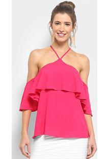 Blusa Colcci Ciganinha Feminina - Feminino-Rosa